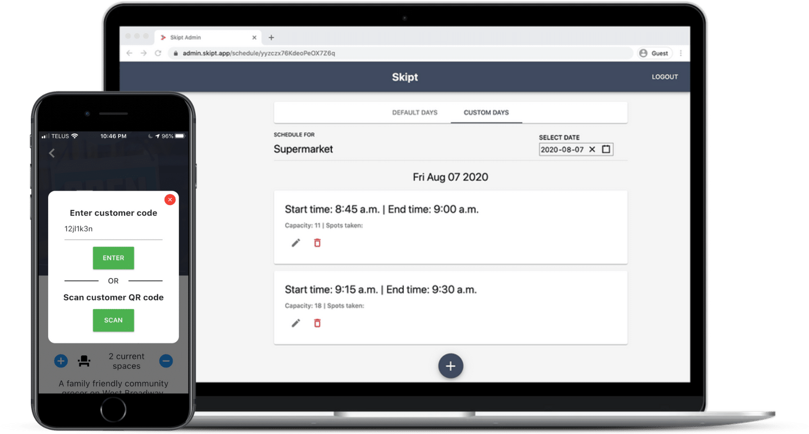 Mockup containing both admin Skipt app and Skipt website